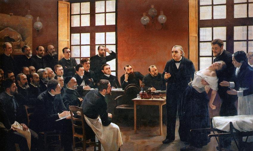 Uma lição clínica na Salpêtrière, pintura a óleo de André Brouillet (1857-1914).